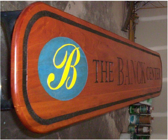 """SA28730 - African  Mahogany Carved Engraved Wall Sign for the """"Banck Center"""""""