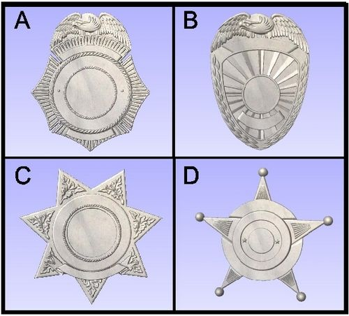 X33770 - Carved Wood Wall Plaques of various Police & Sheriff Shield and Badge Designs