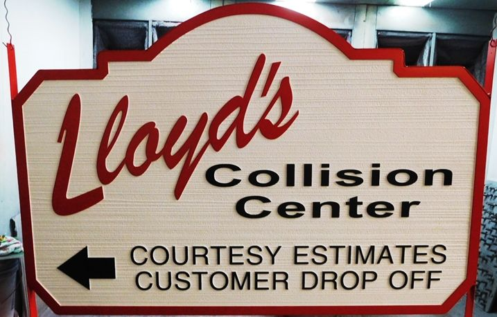 """S28101- Large Carved and Sandblasted Wood Grain  HDU Commercial Sign made for """"Lloyd's Collision Center"""", 2.5-D Artist-Painted"""