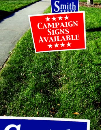 Campaign signs representing yard signs provided by Colorprint servicing San Mateo CA