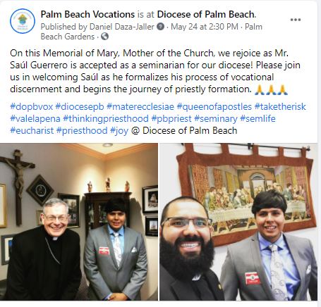 Diocese of Palm Beach welcomes two new seminarians