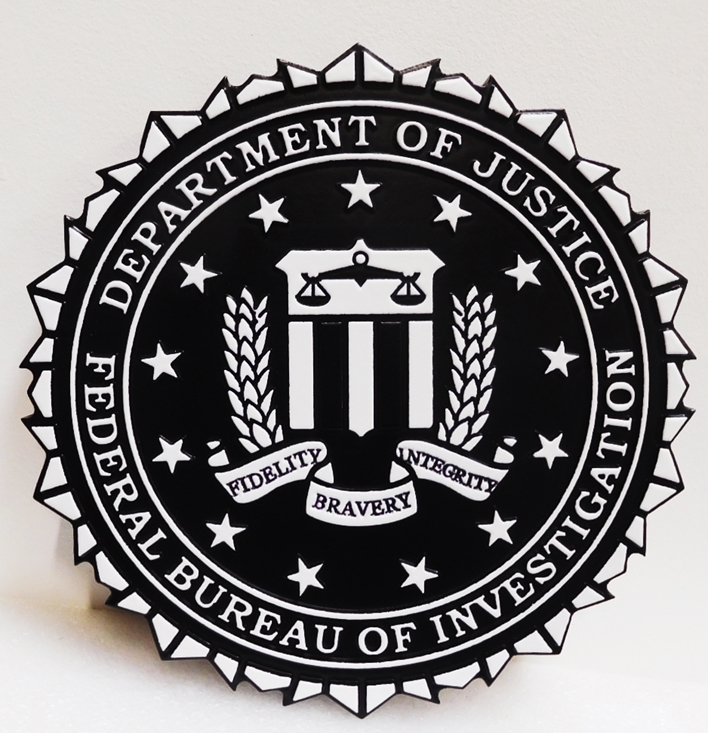 AP-2413 - Carved Plaque of the Seal of the Federal Bureau of Investigation (FBI), 2.5-D Painted Black & White