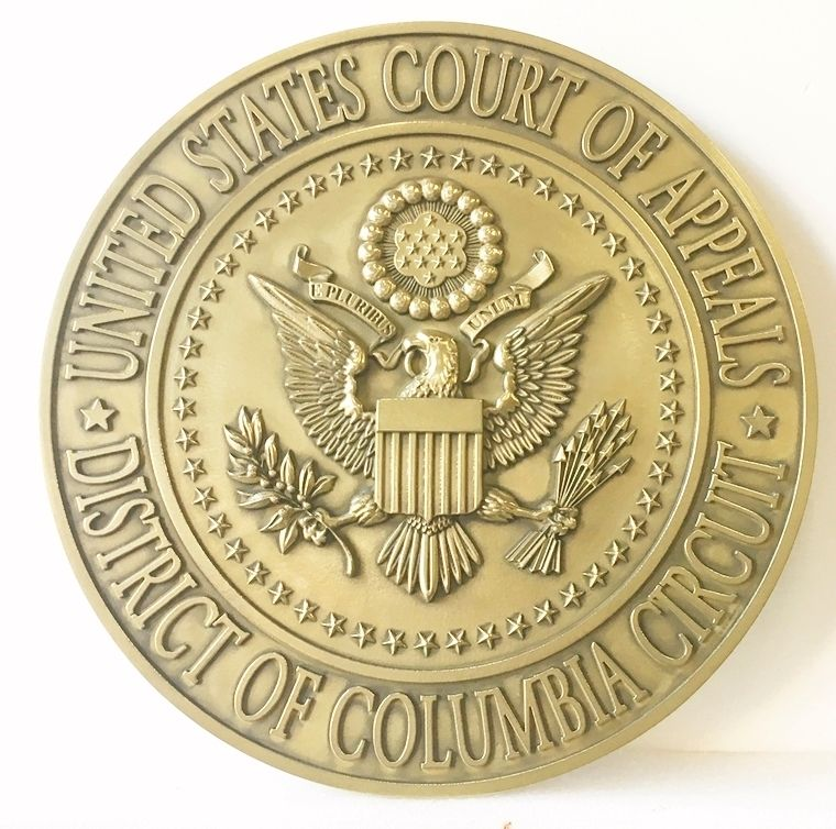 M7160 - 3D  Brass Wall Plaque for US Court of Appeals, District of Columbia