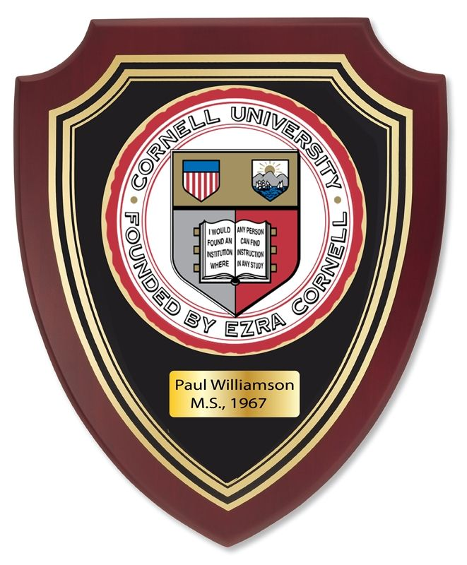 UP1920- Carved Shield Wall Plaque of  the Seal of Cornell University, Artist Painted on Mahogany Wood, Brass Nameplate