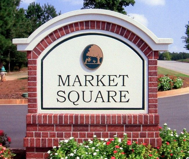 """S28440 - Brick-faced  Monument Entrance Sign for Entrance to """"Market Square"""" Retail Stores"""