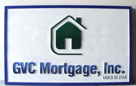 VP-1220 - Carved Wall Plaque of the Logo of GMC Mortgage, Artist Painted