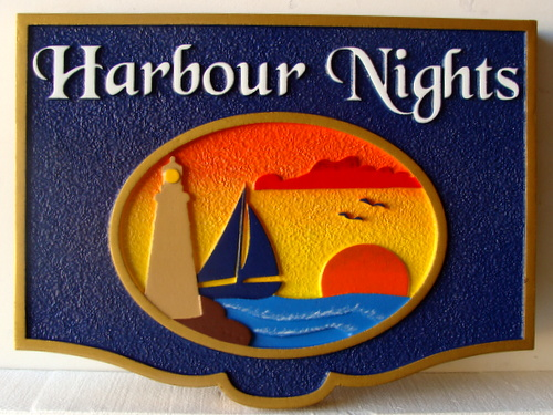 "L21256 - Coastal Home Sign ""Harbor Nights"" with Sailboat, Lighthouse, and Setting Sun"
