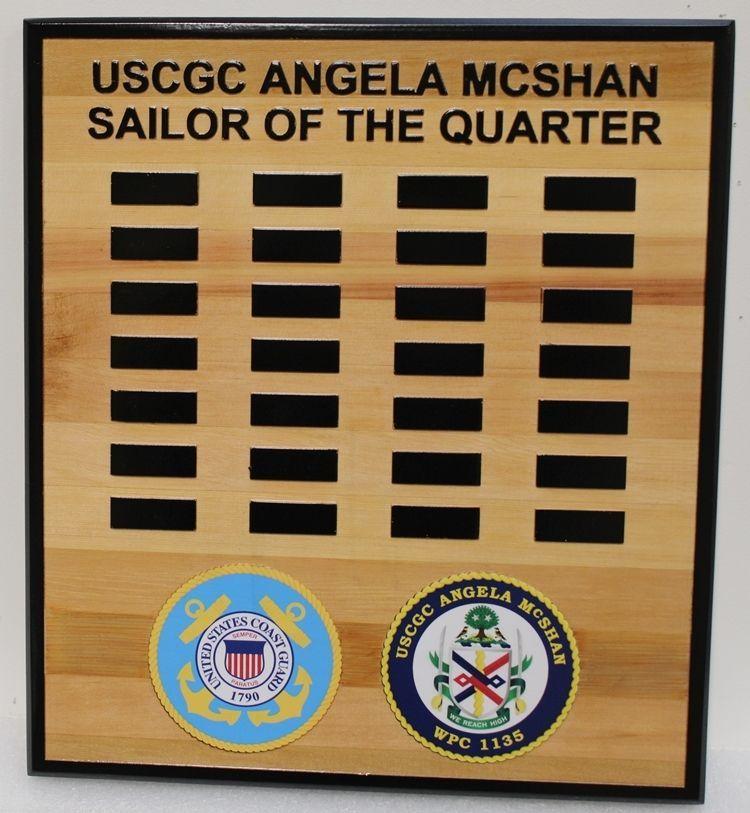 SB1037 - Sailor-of-the-Quarter Award Board for the US Coast Guard Cutter  Angela McShan