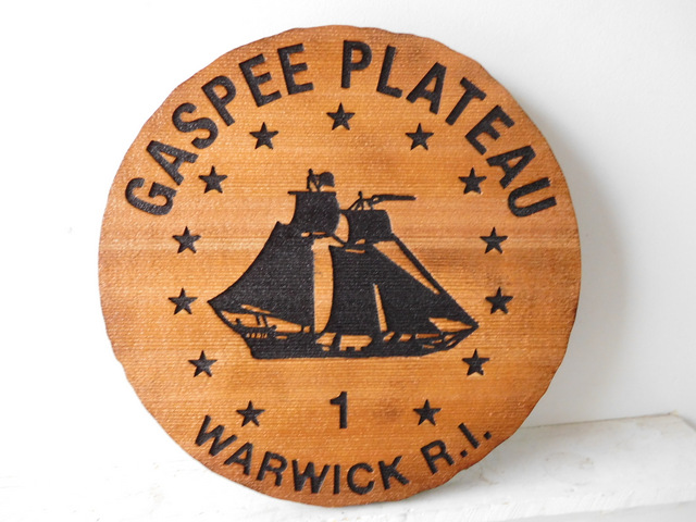 M3071 - Carved Cedar Wood Plaque  for Gaspe Plateau with Engraved Topsail Schooner (Gallery 20)