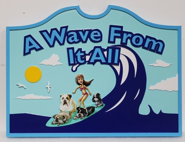 """L21702 - Whimsical Carved 2.5-D Multi-level Relief HDU  Coastal Residence Name Sign """"A Wave From It All"""", with a Woman Surfing with Four Dogs on Her Surfboard"""