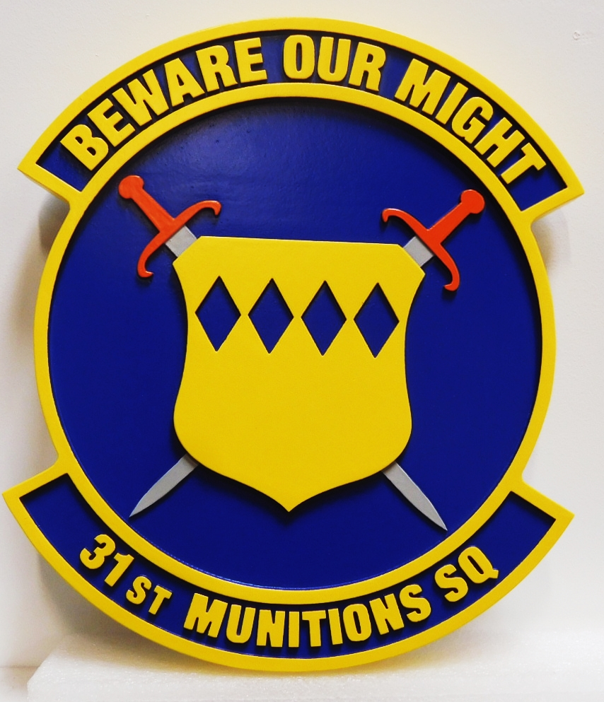 LP-2830 - Carved Plaque of the Crest of the Air Force 31st Munitions Squadron, 2.5-D Artist-Painted
