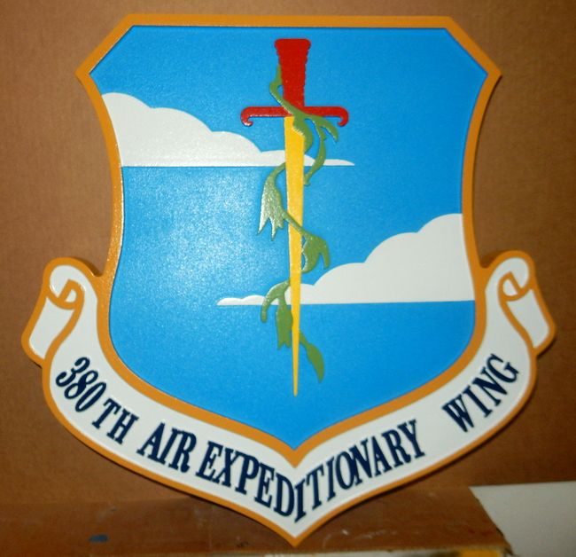 V31601 - Carved Shield Wall Plaque of the Crest for the Air Force 380th Air Expeditionary Wing