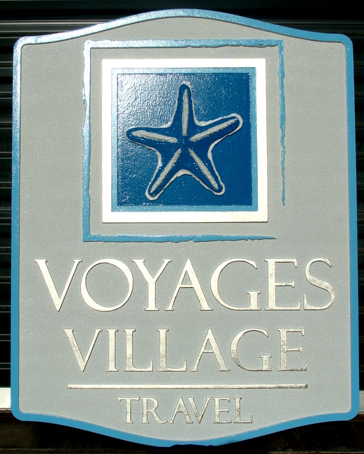 SA28008 - Carved HDU Sign for a Travel Agency with Carved, Raised Image of a Starfish