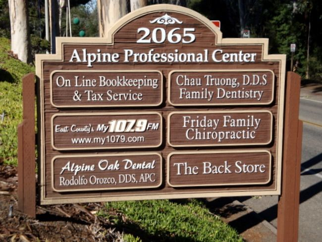 """S28035 - Carved and Sandblasted HDU """"Alpine Professional Center""""  Directory , with Six Replaceable Signs"""