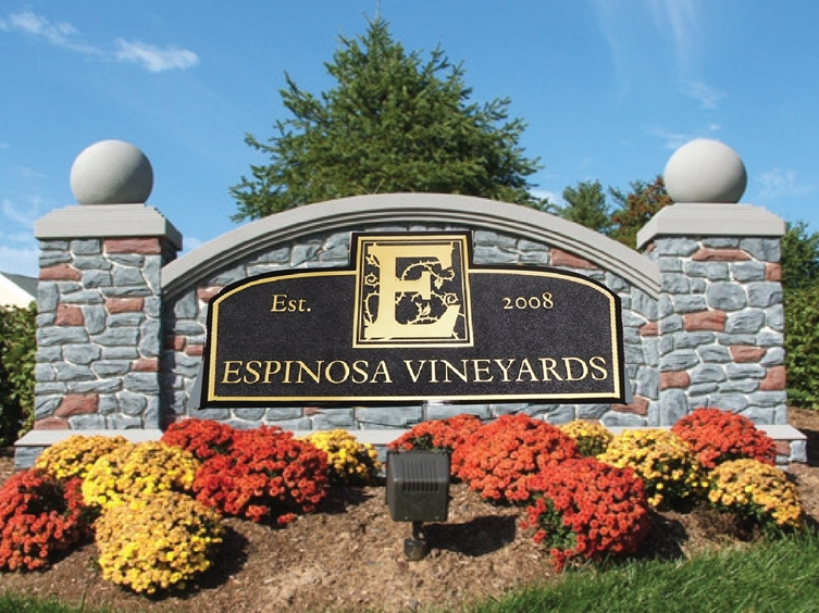 M6742 -  -Custom Vineyard Monument Sign, with Faux STone Facade, Pillars, and Gold-Leaf Gilded Texr and Artwork