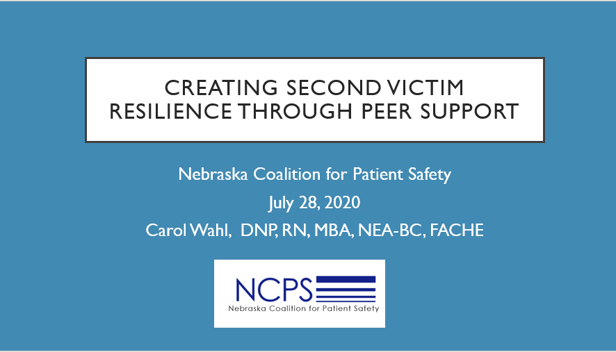 Creating Second Victim Resilience Through Peer Support