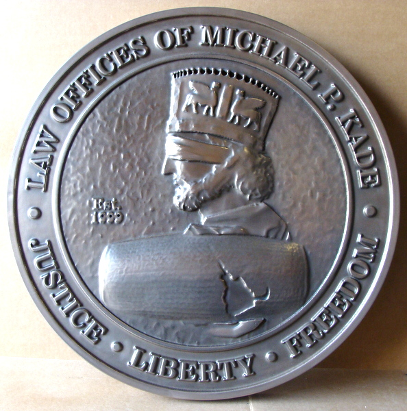 M7274 - Law Office 3D Stainless Steel Plaque, with Bas-Relief  Hammurabi Portrait