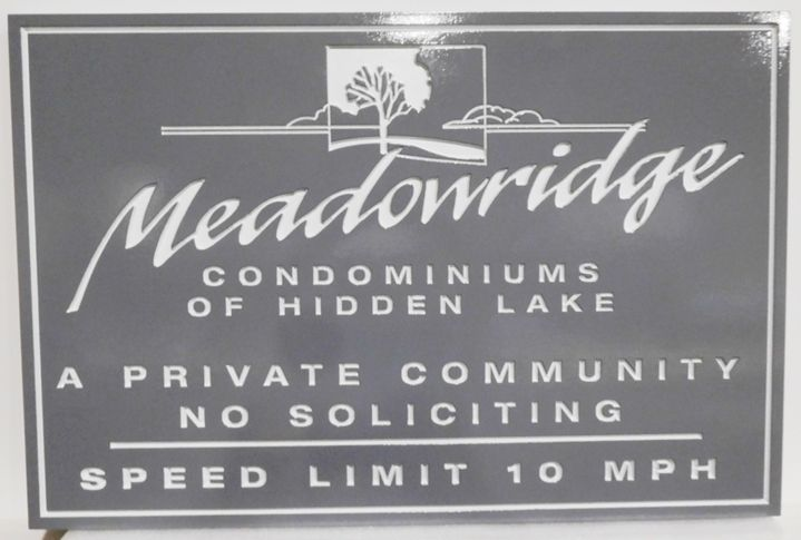 "K20374 - Carved Engraved High-Density-Urethane (HDU)  Entrance Sign for a Condominium Community, ""Meadowridge"" at Hidden Lake, with Tree Scene as Artwork"