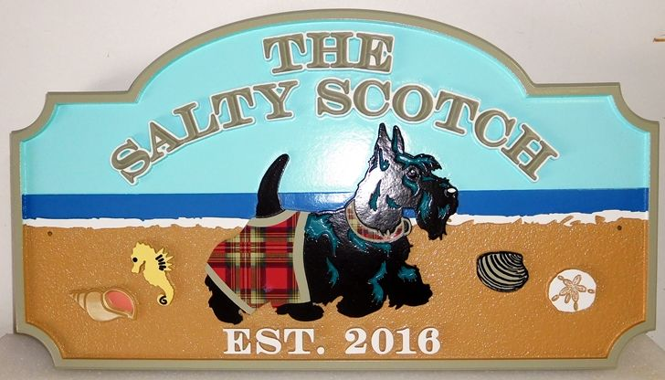 "I18613 - Carved High-Density-Urethane (HDU)  Beachfront Property Name sign  ""The Salty Scotch"" Featuring a Scottish Terrier as Artwork"