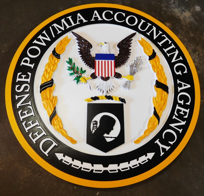 IP-1965 - Carved Plaque of  the Seal of the Defense POW/MIA Accounting Agency, 3-D Artist-Painted