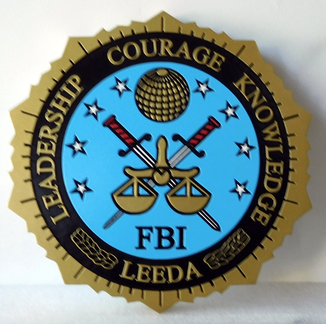 AP-2450 - Carved Plaque for FBI, Artist Painted