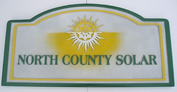 """SA28574 - Sign for  """"North County Solar"""", a Solar Panel Installer , with Sun and Sunshine Logo as Artwork"""