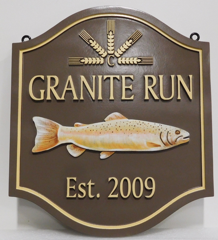 "M22555 - Carved Lake House Property Name Sign ""Granite Run"" with Mounted Trout as Artwork"