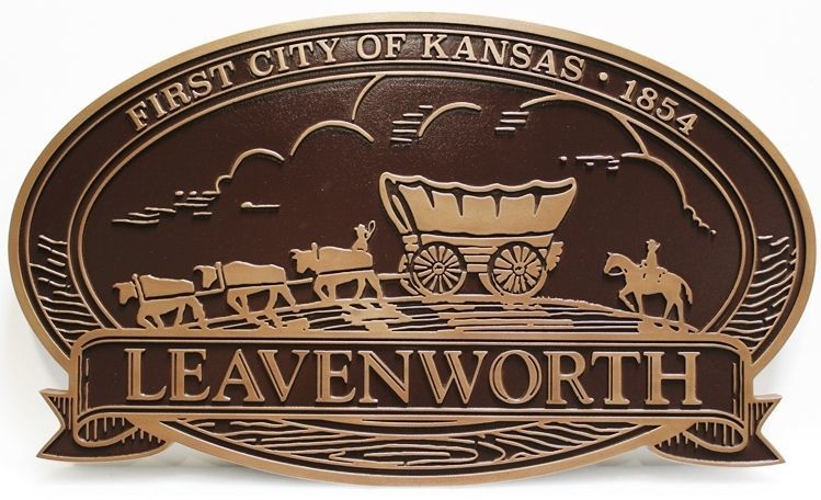 DP-1622 - Carved 2.5-D Bronze-Plated Plaque of the Seal of the of City of Leavenworth, Kansas, with a Team of Oxen pulling a Conestoga Wagon as Artwork