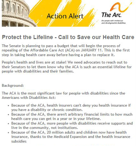 Call to Save Our Healthcare - 1.10.2017