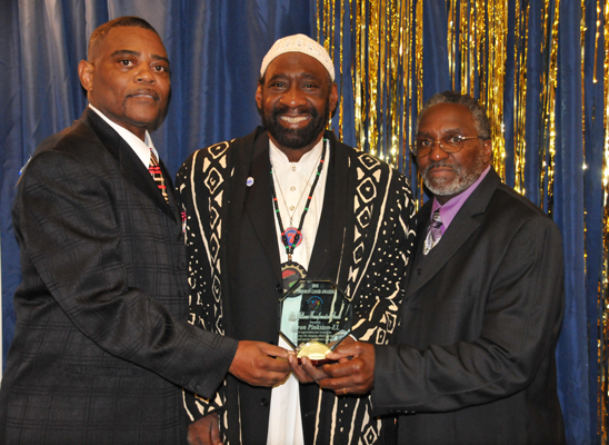 Mike Williams Transformation Award went to Aaron Pinkston-EL with Pastor Silas Johnson.