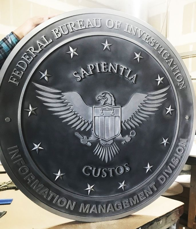 AP-2446 - Seal of the Information Management Division, FBI, Aluminum-Plated (Close-up View)