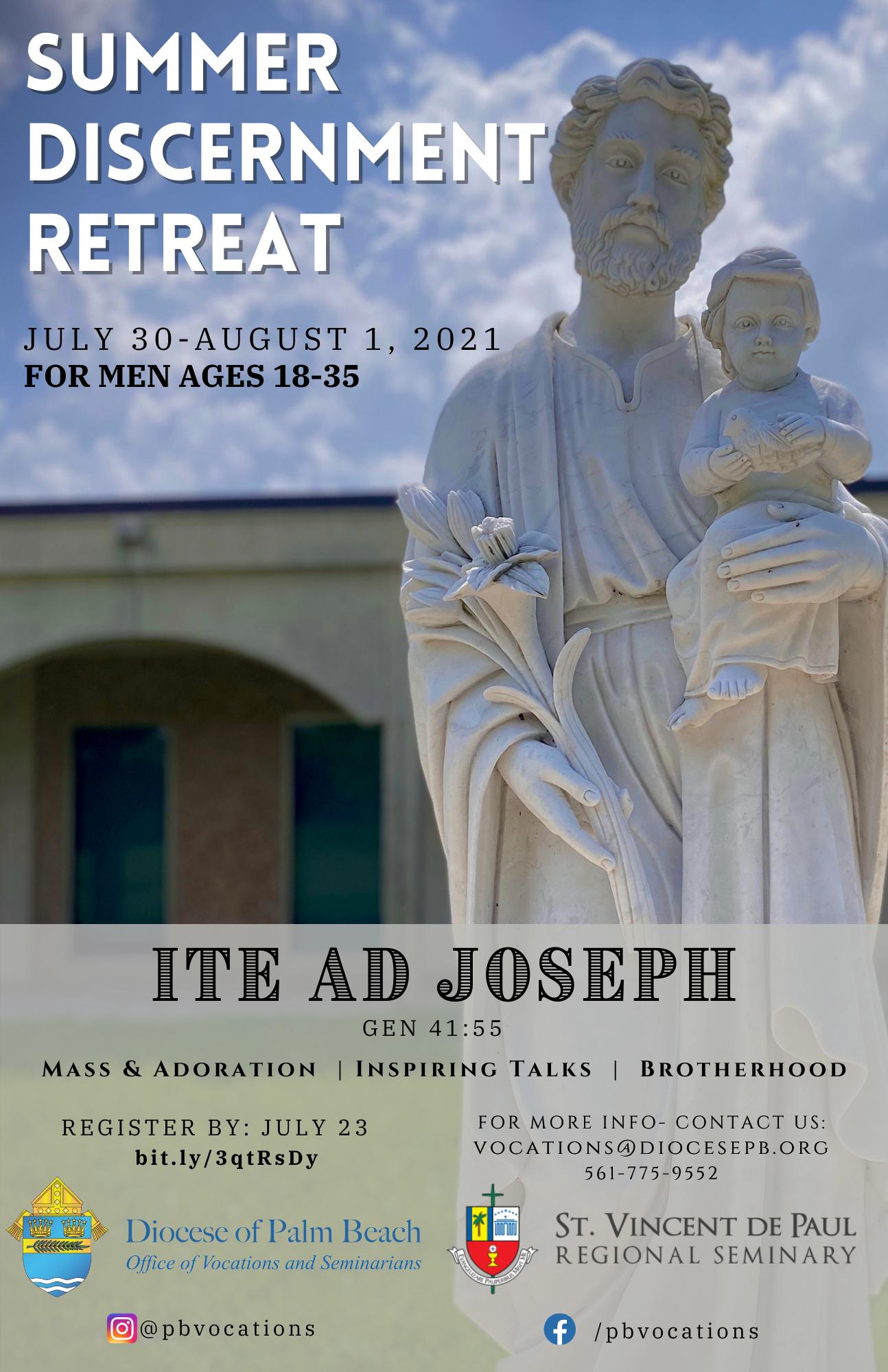 Men's Summer Discernment Retreat - July 30 - August 1, 2021
