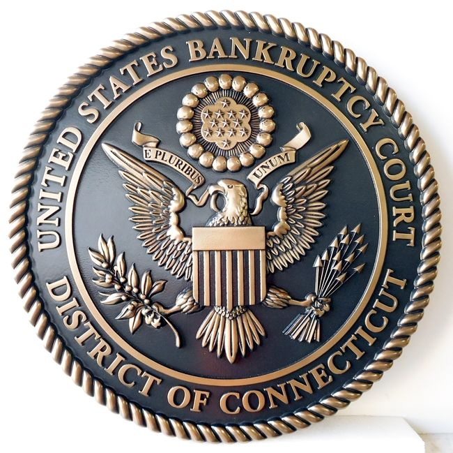 FP-1420 - Carved Plaque of the Seal  of the US Bankruptcy Court, District of Connecticut, Bronze Plated