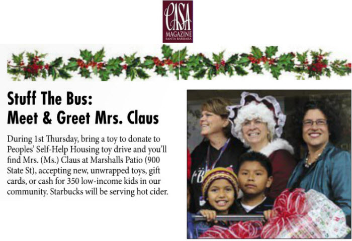 Stuff the Bus: Meet & Greet Mrs. Claus-Casa Magazine