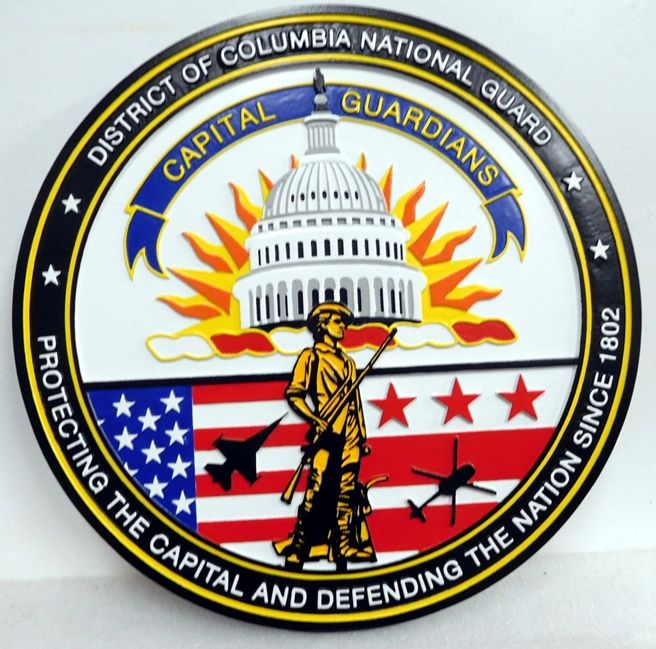 "IP1735 - Carved Plaque of the Seal of  District of Columbia National Guard ""Capital Guardians"", Artist Painted"