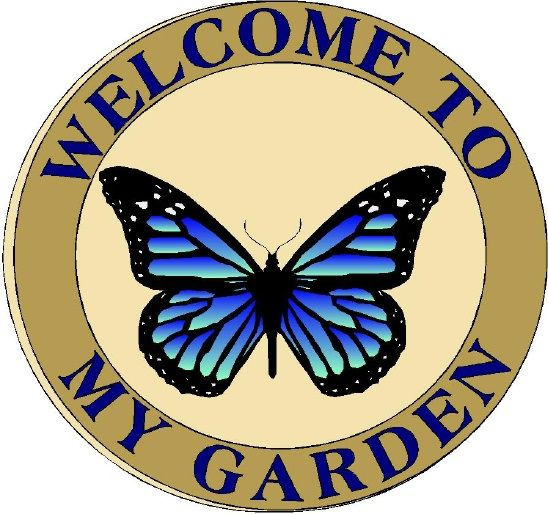 GA16713- Wooden Garden Sign with Butterfly