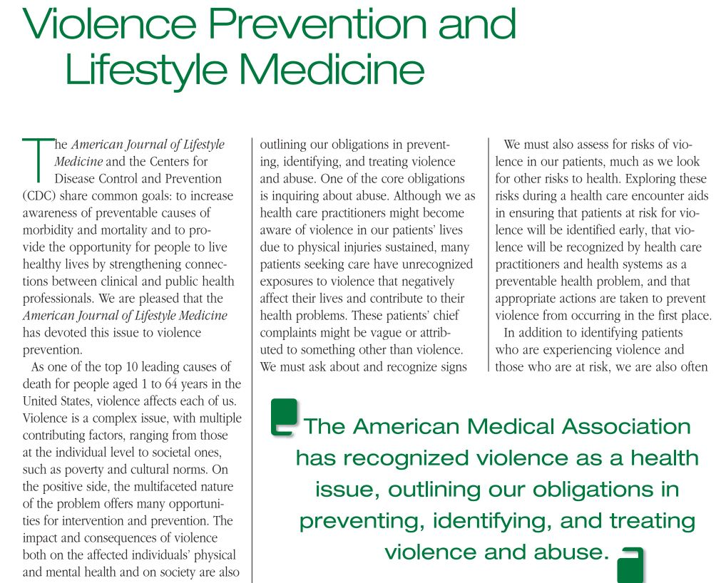 Violence Prevention and Lifestyle Medicine
