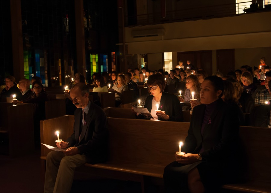 A Woman's Place annual Candlelight Vigil, held in October for Domestic Violence Awareness Month.