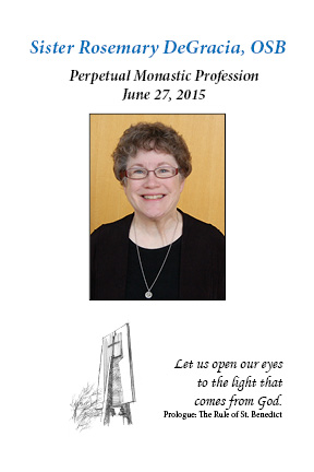 Sr. Rosemary DeGracia to Make Perpetual Monastic Profession - Sat., June 27