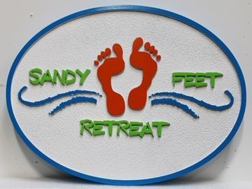 "L21098 - Carved and Sandblasted 2.5-D Multi-level Relief  Beach House Name Sign ""Sandy Feet Retreat"", with Two Footprints in the Sand as Artwork"