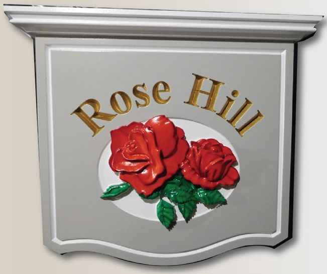 "I18205 - Carved, HDU Sign ""Rose Hill"" with 3D Carved Red Roses"