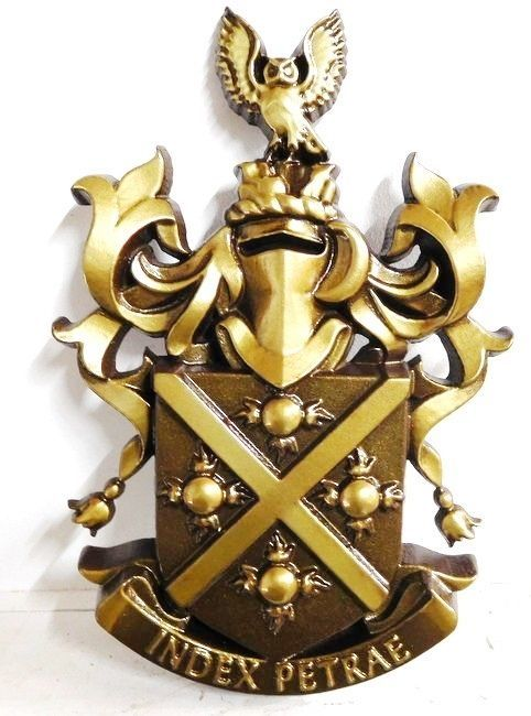 XP-1040 - Carved Wall Plaque of Coat-of-Arms / Crest, Painted Metallic Gold