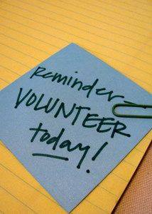 Reminder note to volunteer today