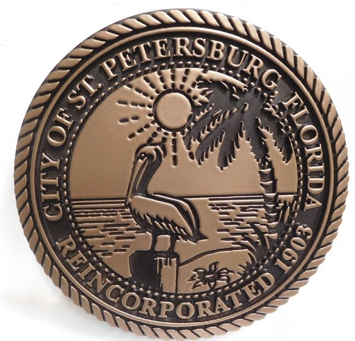 M7053 - Engraved Bronze-plated Plaque of the Seal of the City of St. Petersburg