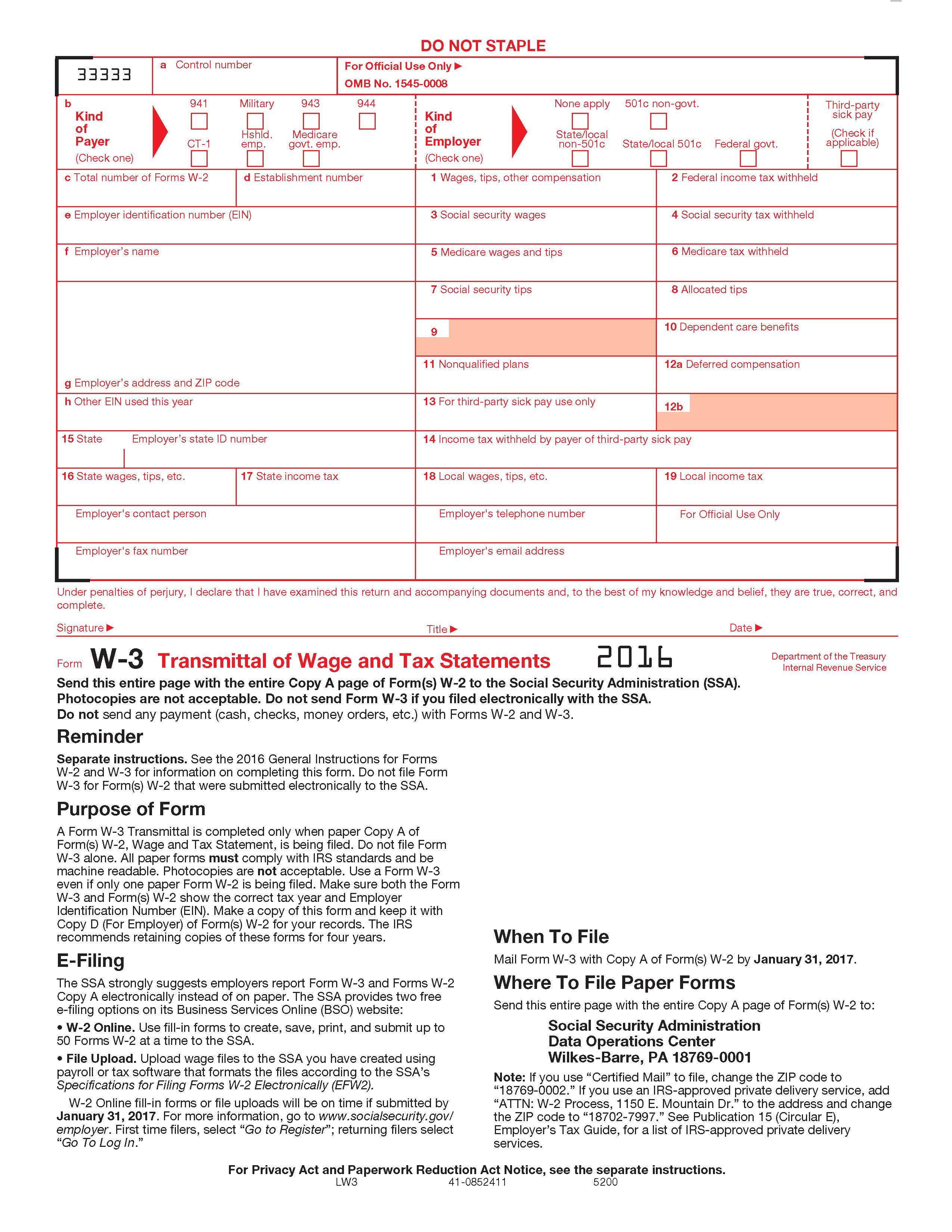 W3 Transmittal Form for W2 Forms
