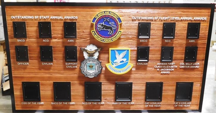 SB1140 - Award Photo Board was made for  the 4th Security Forces Squadron, Carved from Western Red Cedar