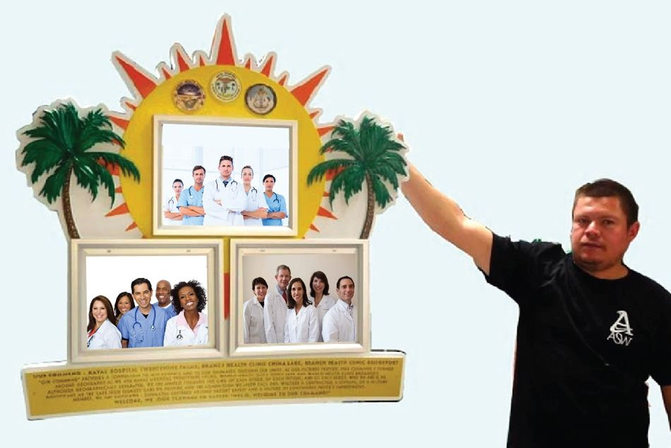 B11112 - Medical Office Entrance Wall Plaque Displaying Group Photos of Medical Office (Hospital) Employees at Work