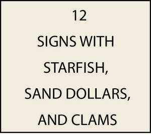 L21500 - Signs with Starfish, Sand Dollars, and Clams