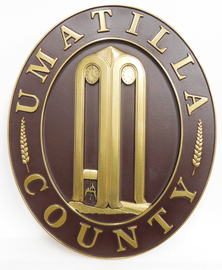 X33387 - Carved Brass Wall-Plaque for Umatillo County, Oregon featuring its Seal/Logo