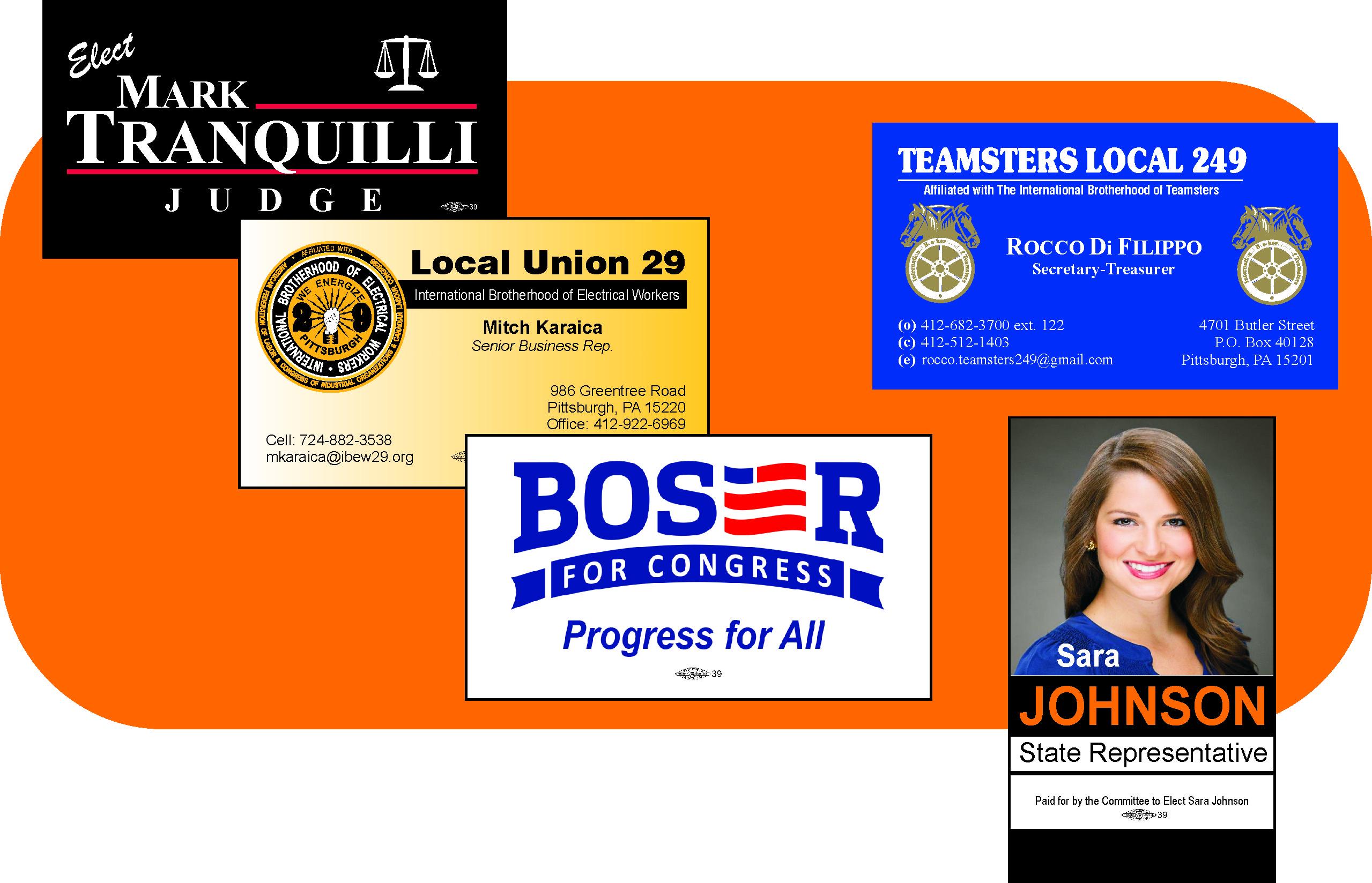 Political business cards union bug